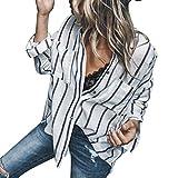Damen Blusen Streifen Pullover Sexy Knopf Shirt Frauen Art und Weisegestreifte Langarmshirt Beiläufige Bluse Lange Hülsen Shirt Tops,ABsoar
