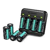 RCR123A Wiederaufladbare Arlo Batterien RAVPower 8er-Pack 700mAh und Akku Ladegerät für Arlo VMC3030 VMK3200 VMS3330 3430 3530 Kabellose Sicherheits Kameras