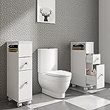 Style home Badschrank Beistellschrank Mehrzweckschrank Seitenschrank Landhausstil Schublade MDF Weiß SH72LCB004-WEI