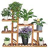 unho Blumentreppe Blumenregal aus Holz 6 Ebenen Pflanzentreppe Blumenständer für Innen Balkon Wohzimmer Outdoor Garten Dekor,117×25×96cm