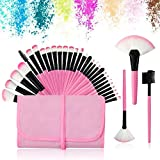 32Pcs Make up Pinsel Set pink, Kosmetikpinsel eyeshadow Lippen Foundation Gesicht pinsel Augen pinsel Lidschatten Brush with pink Nylon tasche (32er in pink)
