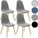 4x Deuba Design Stuhl Esszimmerstühle Küchenstuhl 50cm Sitzhöhe ergonomisch geformte Sitzschale 120kg Belastbarkeit Stuhlbeine mit Naturholzoptik dunkelgrau【Farbauswahl】