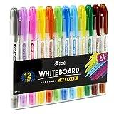 Whiteboard-Markerstifte von SmartPanda – Doppelspitze, Medium und Fein – Trocken abwischbar, perfekt für Zuhause, Schule oder Büro – 12er Set verschiedene Farben