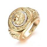 Yoursfs Ring großen Löwenkopf 18 k vergoldet gold gelben und weißen t69 für Mann oder ein Junge als Accessoire oder Geschenk Hochzeit