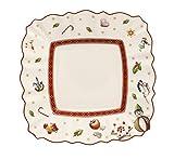 Villeroy & Boch Brotteller, 18,5 x 18,5 x 9 cm, weiß/rot, Hartporzellan