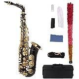 ammoon bE Alt saxophon Messing lackiert Gold E Wohnung Sax 82Z Schlüsselart Holzblasinstrument mit Reinigungsbürste Stoffhandschuhe Korkfett Strap Padded Fall