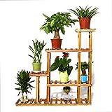 unho Blumenregal Blumentreppe aus Holz mit 5 Ebenen Pflanzentreppe für Innen-Balkon Wohzimmer Outdoor Garten Terasse Dekor Blumenständer 95 x 25 x 96.5cm