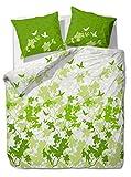 etérea Baumwolle Bettwäsche - Osaka Schmetterlinge - weich und pflegeleicht, 3 teilig 200x200 cm + 2Stk 80x80 cm, Grün