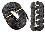 6 Spanngurte Zurrgurte 250kg 2.5m 4m 5m 6m mit Klemmschloss Schnellspannung (2.5m, schwarz)