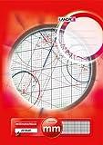 LANDRE 100050433 Millimeter-Block A3 80 g/m² Millimeter-Papier 20 Blatt Kopfgeleimt Linienfabe rot Rasterpapier Geometrie