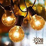 IREGRO Lichterkette glühbirnen 9.5 m Lichterkette Außen G40 Garten Lichterkette 28er Warmweiß Birnen 7 W für Weihnachten, Party