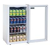 Mini Flaschenkühlschrank, Tischgerät, Getränkekühlschrank ideal für Dosen, Bierflaschen und PET Flaschen 90 Liter mit Einstellbares Thermostat sowie Roste und Füße Ideal auf der Theke