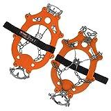 ALPIDEX Schuh Spikes Grödel SNOWDEX PRO Schneeketten für Schuhe in verschiedenen Größen Schuhkrallen mit Edelstahlspikes 21 Zähne, Größe:S, Farbe:orange