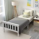 ModernLuxe Einzelbett Holzbett aus Bettgestell mit Lattenrost Holzbett mit Kopfteil - Massivholz Kinderbett Jugendbett 90 x 200 cm Kiefer massiv Weiß lackiert Gästebett Bett Weiss