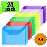 Dokumententasche A4 - Dokumentenmappe Druckknopf für Dokument Speicherung (24 Stück)