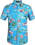 SSLR Herren Flamingos Blumen Freizeit Aloha Hawaii Hemd (X-Large, Blau)