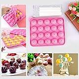 Silikon Cake Pop Backform 20 Runde Cake Pop Maker Stiel BPA-Frei Lollipop Silikon Form Ice Cube für Cupcake, Süßigkeiten, Gelee, Schokolade (Rosa)