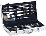 Rosenstein & Söhne Grill-Koffer: 14-teiliges Edelstahl-Grillbesteck-Set, Aluminium-Koffer, Grillbürste (Grill-Besteck in Koffer)