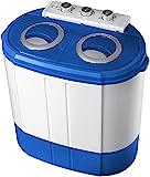 Mini Waschmaschine mit Schleuder | Campingwaschmaschine | Waschautomat | Reisewaschmaschine | Miniwaschmaschine | Camping Waschmaschine | Mobile Waschmaschine | Kleine Waschmaschine | 2 Kammern | Toploader | Schleuderfunktion | Security Funktion | bis 3KG | Farbe: Blau/Weiß |