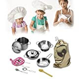 Gereton 12 Stücke Kinder Geschirr Spielzeug Pretend Play Küche Set Kochgeschirr Spielset Edelstahl Töpfe & Pfannen Für Kinder Spielzeug Set