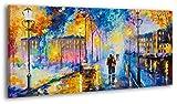 100% HANDGEMALT + Zertifikat | 130x70 cm | YS-Art Acryl Gemälde | Romantischer Abend | Bild auf Leinwand und Holzrahmen | Bilder Handarbeit | Wand Bild Unikat | 1-Teilig | Moderne Kunst (RR-142)