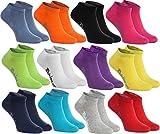 12 Paar Sneakersocken in 12 modischen Farben, in Europa hergestellt, höchste Qualität der Baumwolle mit Zertifikat Öko-Tex, Größen 39 40 41