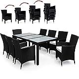 PolyRattan Sitzgruppe 8+1 Schwarz Gartenmöbel Lounge Sitzgarnitur Essgruppe  stapelbare Stühle  wetterfestes Polyrattan  7cm Sitzauflagen  Modellauswahl