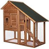 dibea RH10012, Kleintierstall Holz (140 x 64 x 119 cm), geräumiger 2-Etagen Käfig mit herausziehbarer Schublade, 2 Türen, für Kaninchen Hamster Hasen Meerschweinchen