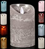 LED Echtwachskerze Kerze Farbauswahl Timer flackernde Wachskerze Kerzen Batterie, Farbe:Grau, Größe:10 cm