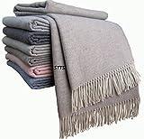 Kaschmir Decke Wolldecke Wohndecke 100% Wolle - Kaschmir - Mix 140 x 200 cm sehr weiches Plaid Kuscheldecke 'Faro' (Beige-Grau)