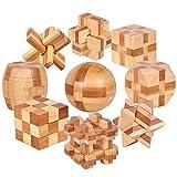 9 Stück Zwischen Schwierigkeit Bambus Geduldspiel - Denkspiele Set Knobelspiel Kit - Rätsel Holzpuzzle Holzspiele - Logisches Spielzeug und Geschenk für Kinder und Erwachsene
