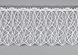 Moderne Spitzen-Scheibengardine CLOÉ aus Echter Plauener Luftspitzen-Stickerei Feenhausgardine in weiß