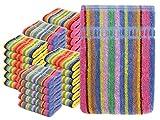 npluseins Waschhandschuhe Multi-Pack - Waschlappen Baumwolle bunt 1442.2027, 5 Packs (30 Stück)
