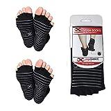 YogaAddict zehenfreie Socken, rutschfest, für Yoga, Pilates, Tanz, Barrenübungen, 1er und 2er Sets, Black (Grey Grippy Lines) - 2 Pairs, S/M