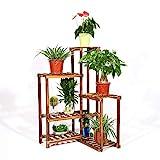 unho Blumenregal Blumentreppe Blumen Rack aus Massivholz mit 6 Pflanzentreppe für Innen-Balkon Wohzimmer Outdoor Garten Dekor EckeBlumenständer 60×60×100cm Braun
