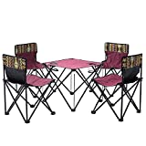 ZXASDC Campingmöbel Set 1er Klapptisch und 4er Klappstuhl im Set Campingtisch Gartentisch Campingmöbel Gartenstuhl Klappsessel für Garten Balkon Terrasse etc 62x21x29cm