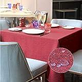 LUOLUO Tischdecke Leinenoptik Tischtuch Leinen Tischdecken Farbe und Tischdecke Leinenoptik Tischtuch Leinen Tischdecken Outdoor Pflegeleicht Abwaschbar Große Wählbar Wasserdicht 140x180cm Rot