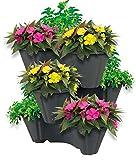 UPP Pflanzturm mit stapelbaren Pflanzöpfen | Vertikaler Garten mit 3 Etagen | Platzsparend für bis zu 9 Pflanzen & Kräuter [Anthrazit]