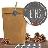 24 Kraftpapiertüten mit 24 weihnachtlichen Aufklebern 'Schick und Grau' zum Verschließen als Weihnachts-Geschenktüte zum Basteln und Befüllen