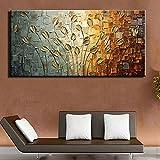 TTKX@ Moderne Große Handgemachte Blumenbilder Pallete Wandkunst Bilder Handgemalte Abstrakte Messer Lilie Blume Ölgemälde auf Leinwand,60X120Cm