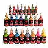 Textilfarbe 3D Set von 24 Lebendig Stoffmalfarbe Prämie Qualität durch Crafts 4 ALL. Ideal für Glas, Leinwand, Stoffe, Holz und viele mehr.