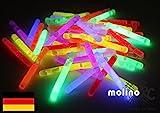 50 Mini Knicklichter Leuchtstäbe | Bissanzeiger Glowstick | Partylichter Neon | rot gelb grün pink orange blau | PREMIUM Lichter, viele viele Stunden für große Freude | deutsche Marke molinoRC | Expressversand BRD