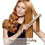 JMung'S Lockenstab und Haarglätter 2 IN 1 360 ° freie Drehung 140 ℃ -220 ℃ mit Keramikplatte, Multi Styler für Long Short