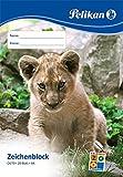 Pelikan 224824 Zeichenblock, A4, 20 Blatt, Deckblatt mit Tiermotiven (nicht auswählbar)