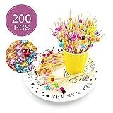 200pcs Cocktailspieße Toothpicks,Cocktail aus Holz von Obst aus Bambus mit der farbige Perlen Acryl Party Zahnstocher Holz Spieße Fingerfood Partypicker für Grillgut, Fingerfood, Obst-Spieß, Candy