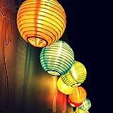 Top Fashion18 LED Solar Lichterkette Lampions Wasserdicht 20er LED Lampions Laterne Lichterkette Garten Innen und Außenbereich 5 M für Party Weihnachten. Mehrfarbig