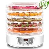 MiMiya Dörrautomat mit Temperaturregler, Höheverstellbares Dörrgerät für Lebensmittel Fleisch Früchte Gemüse, Dehydrator, LED Anzeige, Temperaturwahl 35-70°C, BPA-frei