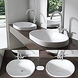 BTH: 58x40x17,5 cm Design Einbauwaschbecken Brüssel5006A, aus Keramik inkl. NANO-Versiegelung, ovale Form, Waschschale, Waschtisch,