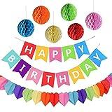 Geburtstagsfeier Dekorationen, Happy Birthday Spruchband mit 6 Wabenbällen und einer Regenbogen-Papier-Girlande, Partyzubehör