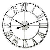 ZUJI Wanduhr Vintage, 60cm Wanduhr Groß XXXL Wanduhr Lautlos Wanduhr Ohne Tickgeräusche Wanduhr Dekorative für Küche Wohnzimmer Schlafzimmer (Silber)